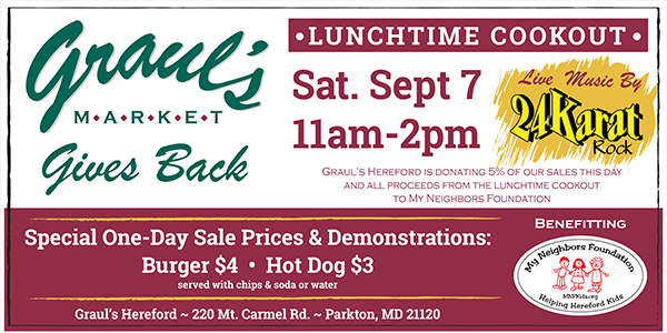 2019-09-07 Lunchtime Cookout Grauls Market Gives Back