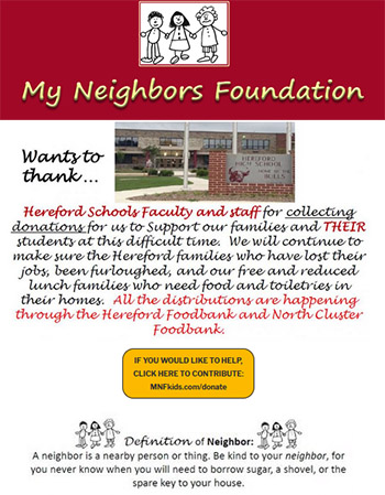 mnf wants to thank hereford schools faculty and staff